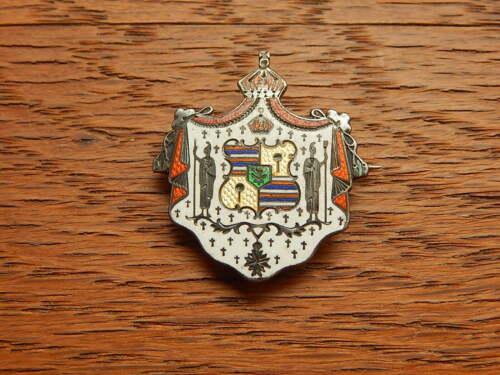 Vintage Hawaiian Coat Of Arms Creast Sterling Silver Enamel Watch Pin