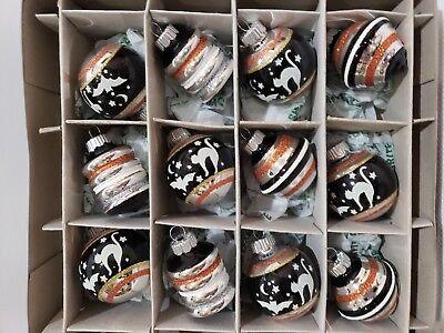 Shiny Brite Christopher Radko Halloween Cat Glass Ornaments Set of 12](Halloween Glass Ornaments Set Of 12)