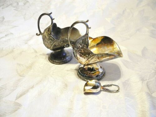 Vintage Silver Plated Scuttle Scoop & Sugar Bowl (2)