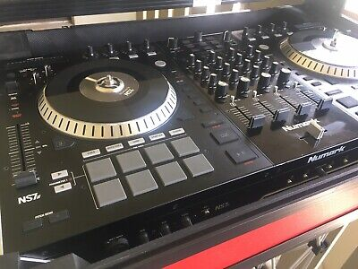 Numark Ns7II 4 Channel Digital Dj Controller With Red Case And Foldable Dj Stand