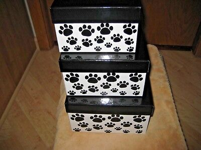 Box Co Black Dog PAWPRINT on White Theme Empty Boxes Stacking Set of 3 NEW