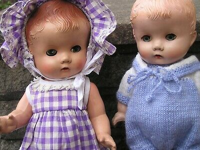 TWO B N D LONDON HARD PLASTIC DOLLS 1950s BOTH 13 INCHES TALL AND IN GOOD CONDIT