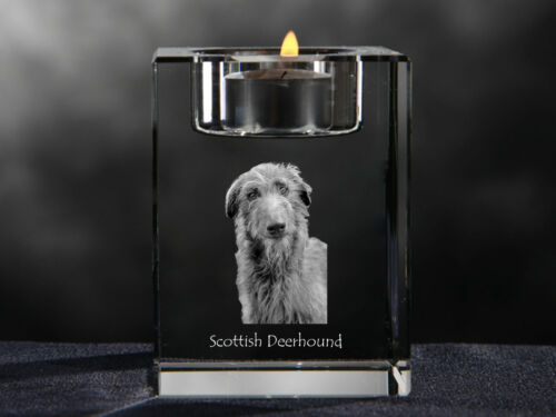 Scottish Deerhound, crystal candlestick with dog, souvenir, Crystal Animals USA