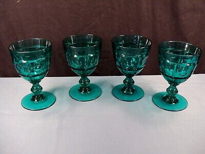 Set of 4 Fenton Stiegel Green Glass PLYMOUTH Water Goblets Block & -