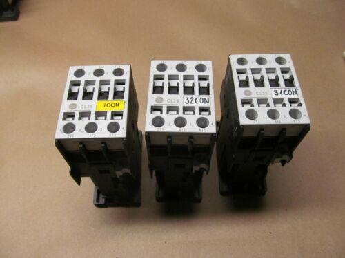 3- GE CL25D3007  3 POLE 32 AMP CONTACTORS  24VDC COILS    B-246