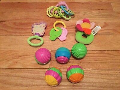 Lot Of 17 Baby Girl Infant Toys Balls Sensory Developmental Rattles Keys Links