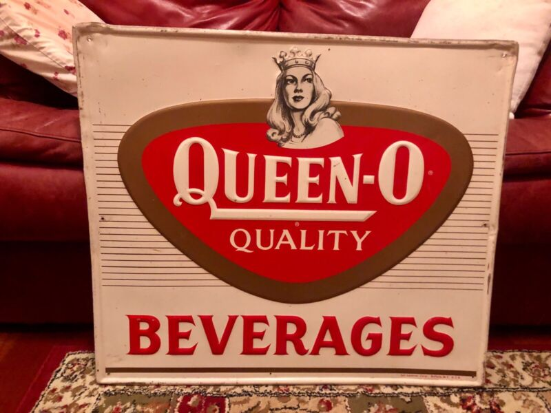 VINTAGE ORIGINAL ADVERTISING SIGN Embossed QUEEN-O-Beverage Buffalo, NY