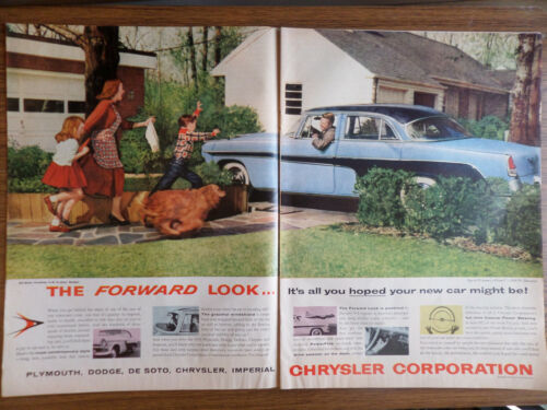 1955 DeSoto Fireflite with the Forward Look Ad Family Dog Comes Running