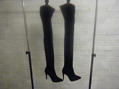 Ladies Black Faux Suede Full Length Slim Heeled Fashion Boots Size 7 from New Lo