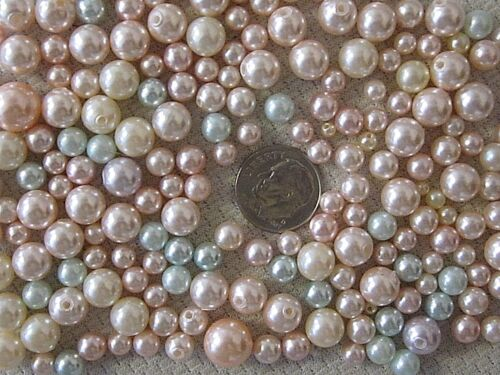 200 VTG PASTEL NOS NO HOLE & 1 HOLE PEARLS LOT 2mm to 9mm JEWELRY REPAIR CRAFT