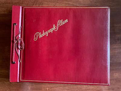 "Red Vintage Unused Photo Album Scrapbook 14"" X 11"" Black Paper Pages And Corners"