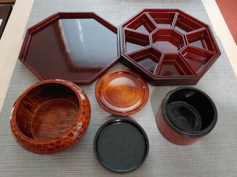 漆器彩贝攒盘罐枥木盒Antique lacquerware Shell Jewelry Candy Wooden Assemble Trays Jar Box