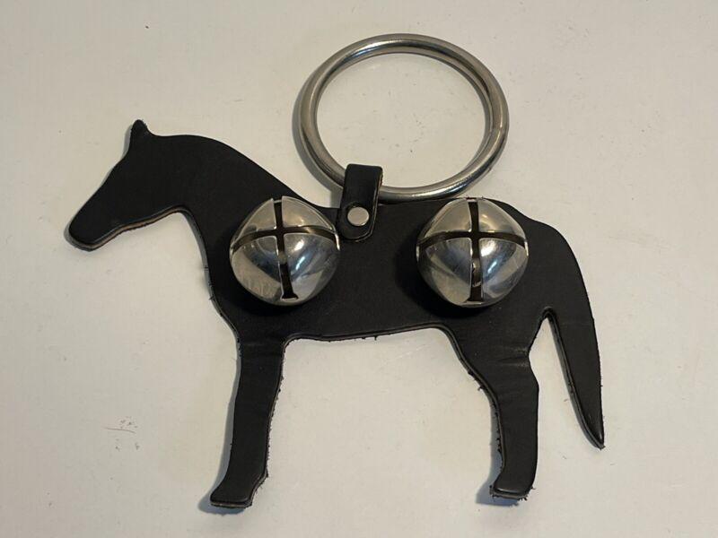 Door Knob bell leather horse with 2 sleigh bells