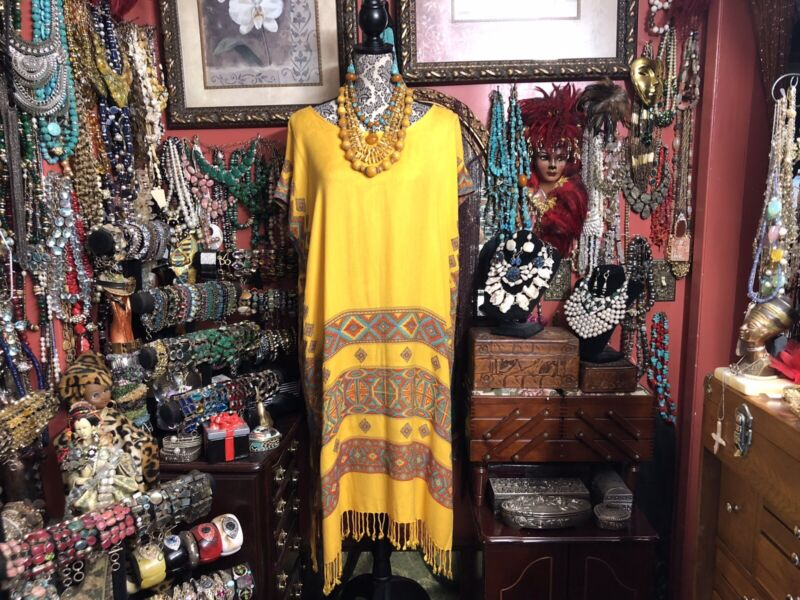 Beautiful Bright Yellow Color Hand Woven Multi Color Huipil Dress Oaxacan Mexico