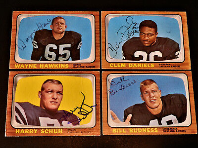 Oakland Raiders Schuhe (Harry Schuh 1966 Topps #117 Autographed Oakland Raiders AFL Auto Vintage Rare)