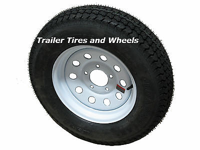 "175/80D13 LRC 6 PR KL Bias Trailer Tire on 13"" 5 Lug White Mod Steel Wheel"