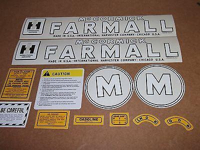 Farmall Model M Decal Set. Mylar. 1945-1952. Mccormick Farmall C-details