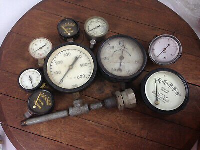 Lot Of 9 Vintage Antique Pressure Gauges Various Sizes Steampunk Wh-16