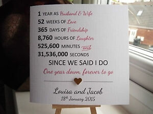 Personalised First 1st Year Wedding Anniversary Card Husband Wife ANY YEAR