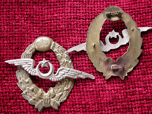 Replica-Copy-WW1-Turkish-Ottoman-Pilots-Badge-aged-full-size-NO-pin