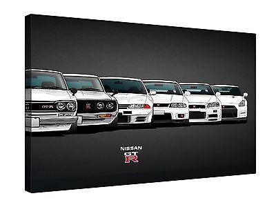 "Evolution Nissan GTR Car Models 30x20"" Canvas Wall Art Picture Print Framed"