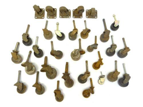 Lot of Vintage Used Wood Plastic Metal Furniture Cart Wheels Parts Dresser Wheel