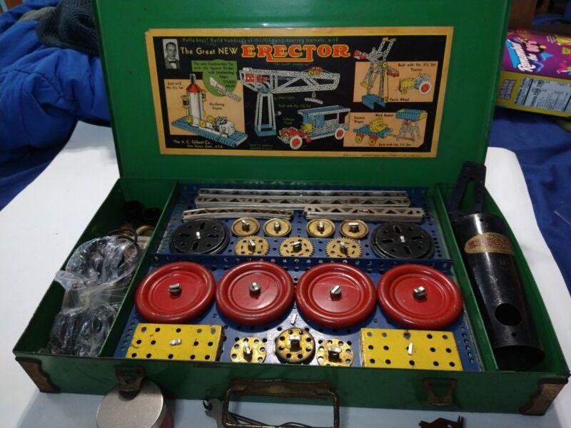 Vintage Gilbert 1935 Erector Set in Original Metal Case Everything But Manual