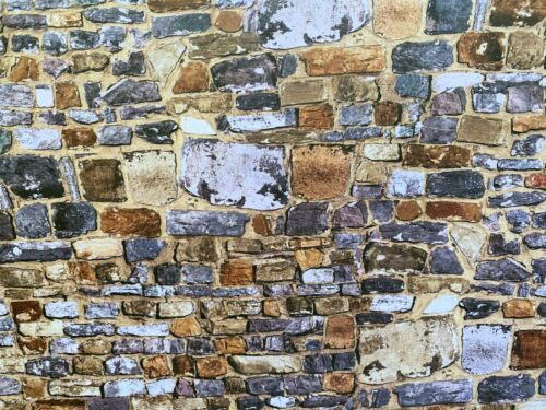 Dollhouse Miniature 3 D Effect Old Stone Wall  Wallpaper