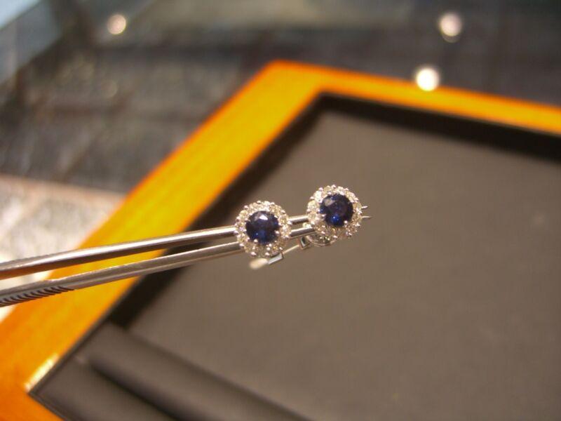 Fine Womens Stud Earrings Diamond And Sapphire 18 Karat White Gold New Wow!