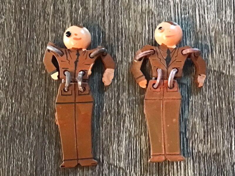 Set Of 2 Vintage WWII Soldier Bakelite Articulated Sweetheart Pins