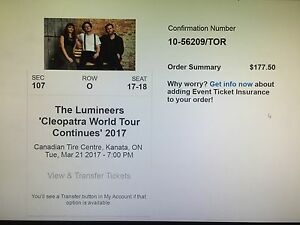 Lumineers in Ottawa March 22nd
