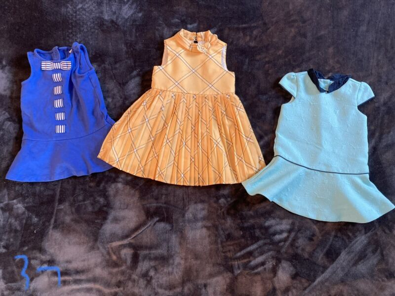 Janie and Jack Toddler Girls Dresses Lot 18-24 Month Yellow, Blue