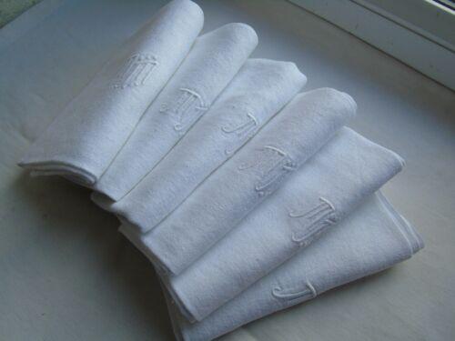 "French set of 6 white cotton table linens "" M M"" monogram  vintage"
