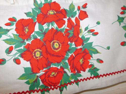 "Vintage Wilendur Red Poppies Tablecloth Fabric Kitchen Window Valance 110"" x 14"""
