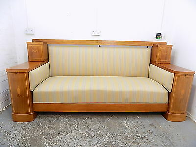 antique,large,edwardian,mahogany,settee,sofa,padded,inlaid,storage,wood frame