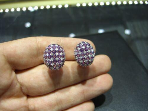 Fine Womens Earrings Diamond And Amethyst 18 Karat Yellow Gold New Hand Made Wow