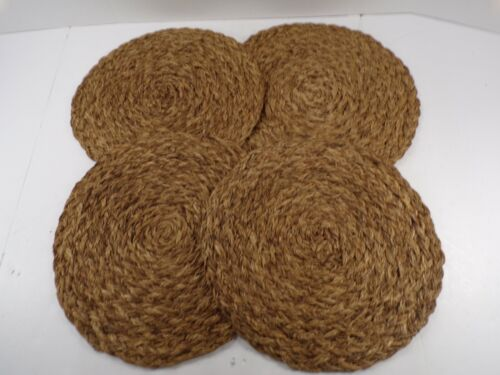 "Pottery Barn Braided Abaca Charger Placemat Dinnerware S/4 14"" Diam Brown #9465"