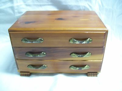Vintage 3 Drawer Stained Cedar Wood Footed Jewelry Box w/ Brass Hardware