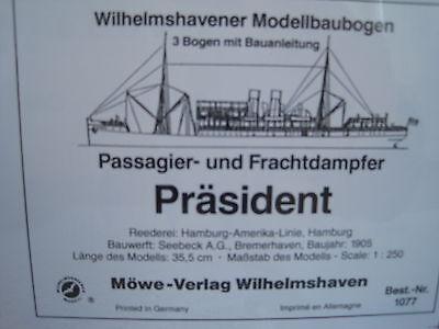 Präsident Frachtdampfer Wilhelmshavener Modellbaubogen Bastelbogen Kartonmodell
