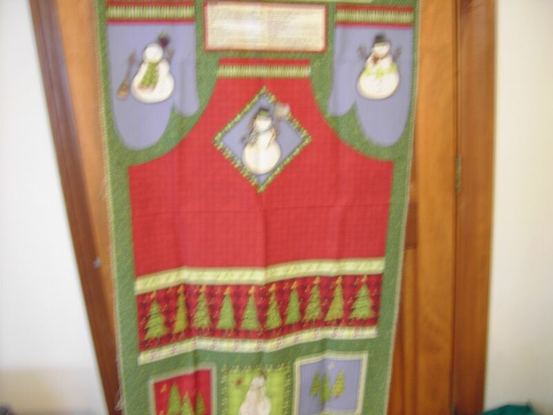 Snowman Apron/ Poltholders/ OvenMitts by Debbie Mumm in green/red  - Adult size