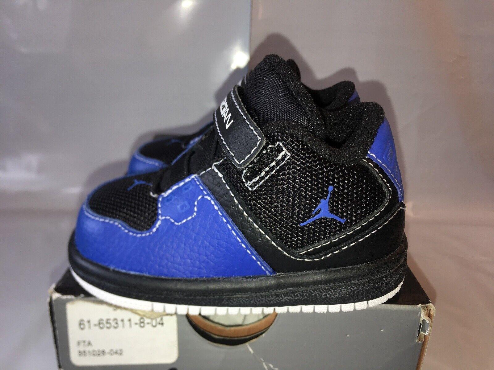 NEW Nike Air Jordan 1 Flight Low Baby Toddler 3c 3 Black Royal Blue 351028-042