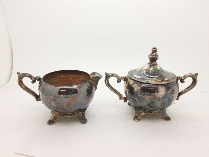 Vintage Silver Wm Rogers Cream and Sugar Set