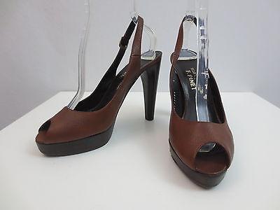 Stuart Weitzman for F.Pinet Schuhe Peep Toe Pumps High Heel Braun Leder Gr.40 Stuart Peep Toe