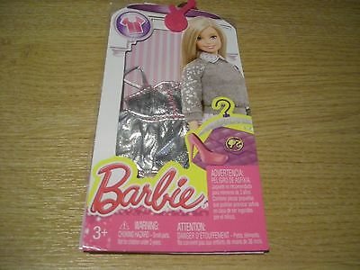 MATTEL BARBIE CLOTHES OUTFITS ACCESSORIES PACK CFX73 DHH49 SILVER TOP DRESS NEW