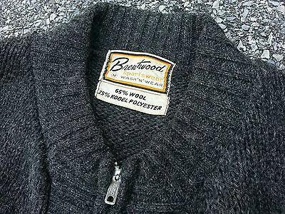 Vtg 1960s Brentwood Charcoal Wool Full Zip Sweater Jacket Sz M Rockabilly