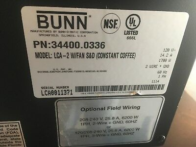 Bunn Liquid Coffee Ambient Dispenser -lca-2 Wfan