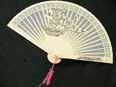 JAPANESE WOODEN CHERRY BLOSSOM HAND FAN CHINESE WEDDING DANCE FANCY PARTY WOMEN