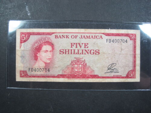 JAMAICA 5 SHILLINGS 1960 P51Aa BRITISH QUEEN FD400704 # CURRENCY BANKNOTE MONEY