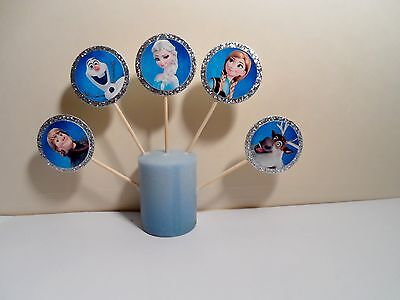 Frozen Disney Cupcake Toppers Birthday Party Favor fiesta  handmade (24 set)