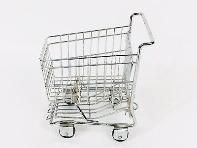 Vintage Metal Small Grocery Shopping Cart Decorative 7.75 Tall 5.5 Wide